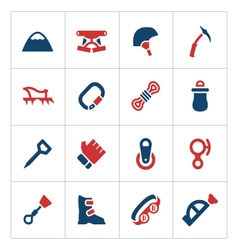Set color icons of mountaineering vector