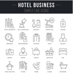 Set line icons hotel business vector