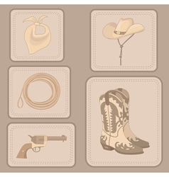 set of cowboy items vector image