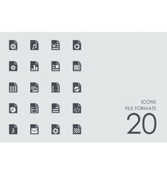 Set of file formats icons vector
