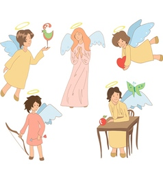 Set of five cute colored angels vector