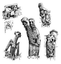 set of gargoyles chimera of notre-dame de paris vector image