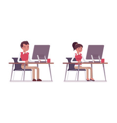 Set of male and female office worker sitting at vector