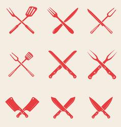 Set of restaurant knives icons crossed fork vector