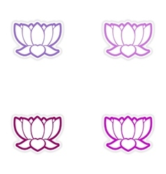 Set of stickers Indian lotus on white background vector