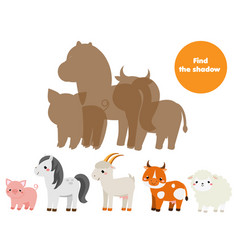Shadow matching game find silhouettes farm vector