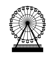 Silhouette Park Atraktsion Ferris Wheel vector image