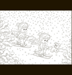 Small children skiing down a snow hill vector