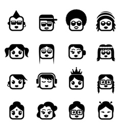 Smiley faces woman characters vector