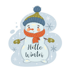 Snowman in a hat and scarf and inscription vector