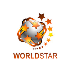 sphere rotate world star logo template vector image