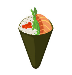 temaki food raw fish caviar rice nori in sushi vector image