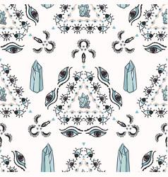 Trendy quartz crystal magic seamless vector