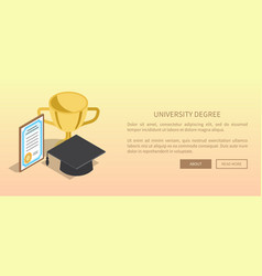 university degree template banner with trophy vector image