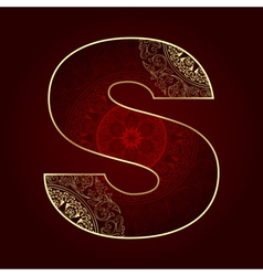 Vintage alphabet with floral swirls letter S vector