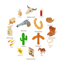 wild west icons set isometric style vector image