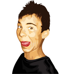 Young man with messy hair and tongue out vector