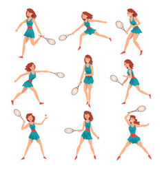 young woman playing tennis set professional vector image