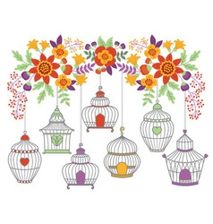 Autumn flowers with bird cages vector