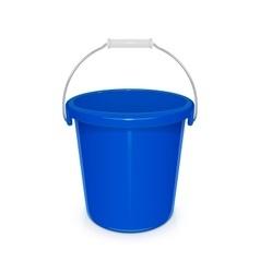 Blue plastic empty bucket with vector image vector image