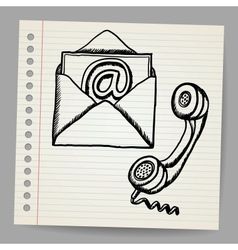 Contact us doodle icons vector image