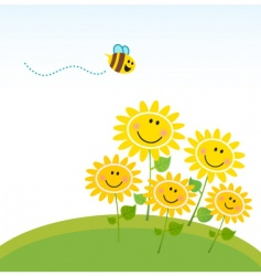 cute honey bee with flowers vector image vector image