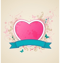 Decorative background with pink heart vector image vector image