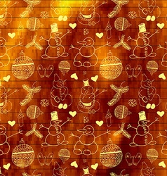 Golden seamless pattern with snowmen vector image