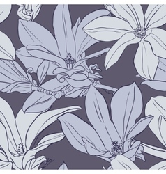 Gray vintage magnolia seamless pattern vector
