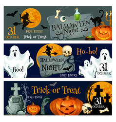 halloween holiday spooky ghost and pumpkin banner vector image vector image