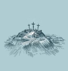 Jesus on cross mount golgotha art sketch vector