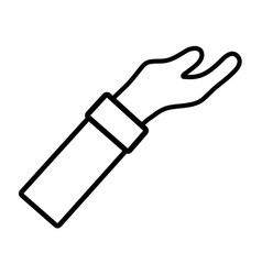 Line man arm hand up icon vector