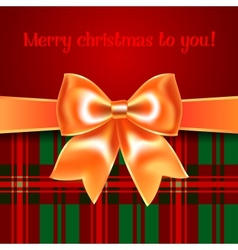 Merry Christmas background with yellow ribbon bow vector image vector image