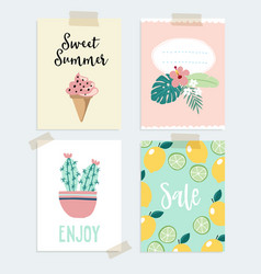 set of hand drawn summer greeting or journaling vector image