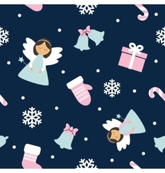 Christmas Seamless Pattern with Angels vector image vector image