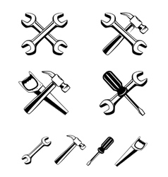 different tools silhouette icon vector image