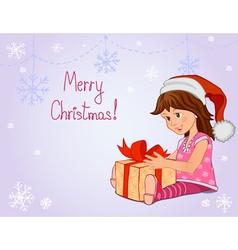 Little girl with Christmas gift vector image