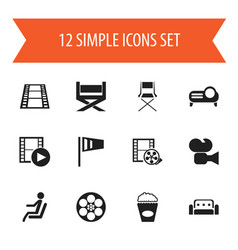 set of 12 editable movie icons includes symbols vector image