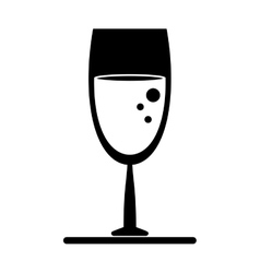 silhouette glass wine drink bubbles vector image