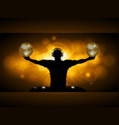 dj with disco balls and records deck on glowing vector image vector image