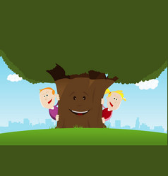 happy kids and friendly tree vector image