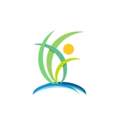 plant people wellness logo nature ecology design vector image vector image