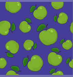 seamless pattern apple on purple background vector image vector image