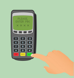 wireless payment concept pos terminal is waiting vector image vector image