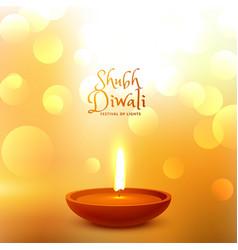 festival greeting of diwali with diya and bokeh vector image vector image