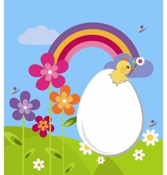 garden with easter egg and flowers vector image vector image
