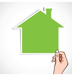 green home icon in hand vector image