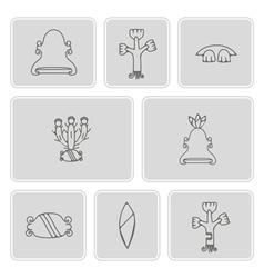 monochrome icon set with aztec pictograms vector image