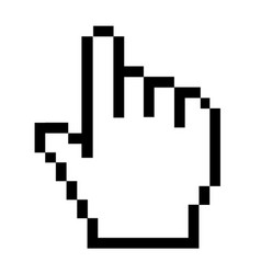 pixel hand icon on white background hand cursor vector image