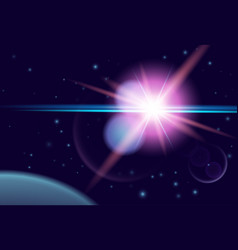 planet and shine star in dark space cosmos vector image